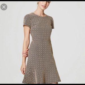 LOFT flare hem flippy dress jacquard print